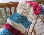 "Patriot Stripes Afghan 48""x45"" Crochet Acrylic Washable Handmade Nautical Red White Blue Chunky Thick Soft Heavy Country Decor"