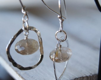 Rutilated quartz and silver earrings