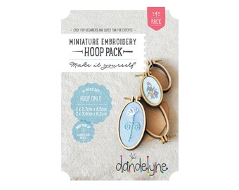PACK OF 4 oval mini embroidery hoop frames - 2 x (27mm x 45mm) and 2 x (34mm x 62mm) hoops - Dandelyne design