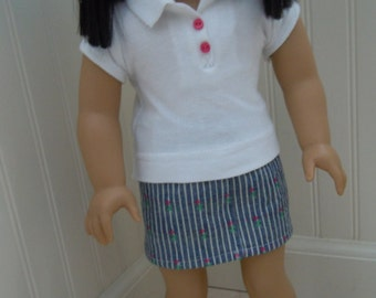 """American girl doll or 18"""" doll outfit, skirt and polo shirt"""