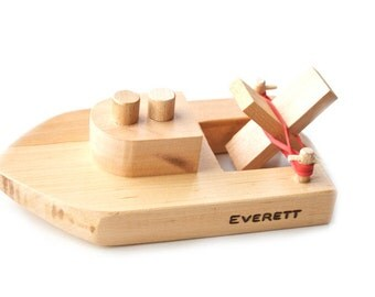 Personalized Wooden Toy Boat.  Kids Wood Bath Toy. Ready to ship.