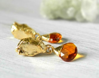 citrine earrings, gold earrings, post earrings, dangle earrings, briolette earrings, gold nugget, gold filled, gold earrings