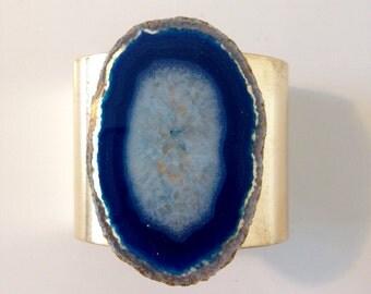 Navy Blue Agate Cuff