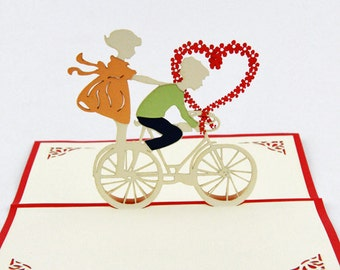 Love bicycle boy and girl heart  pop up card  greeting card