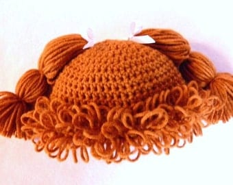 Cabbage Patch Knit Hat With Fringe And Pigtails Pattern : Items similar to Cabbage patch inspired crochet hat- pigtails (pics of