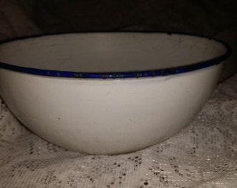 Vintage K.E.R. of Sweden White Porcelain Enamel ware Bowl with Navy Blue Trim - 6 Inch