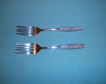 """Two (2) 6 1/8"""" Stainless, Salad Forks, from Orleans Flatware, in the ORL-62 Pattern."""