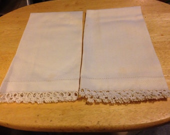 Vintage White Linen Tea Towels