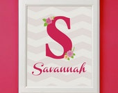 Monogram Personalized Name Art Print for Nursery or Girl's Room Decor