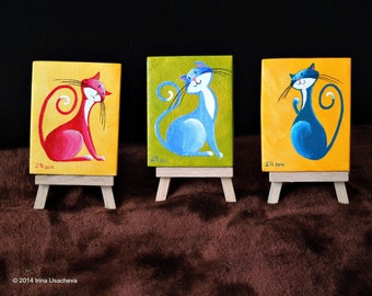 "Original Fantasy Cat Acrylic Paintings for Sale ""Little Cats"""