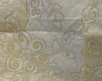 Mattelase Fabric, Soft Gold and white, Upholstery weight, Yardage
