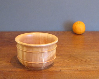 Maple wood salad bowl, wood turning, light golden brown