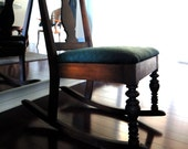 Vintage rocking chair with new wool seat cushion & pillow - Slow design. momoish made.