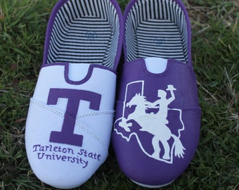 Tarleton State University Hand Painted Shoes