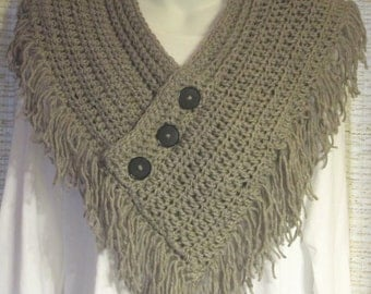 Beautiful Crocheted Scarf - Oatmeal Heather