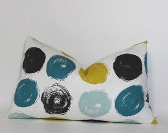 Teal & mustard yellow lumbar pillow cover. Modern Brushed Dots home decor designer fabric