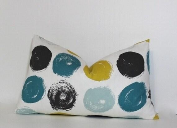 Teal Amp Mustard Yellow Lumbar Pillow Cover Modern Brushed Dots