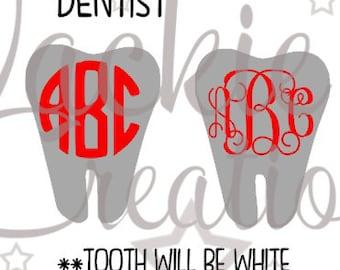 Dentist/Tooth Monogram Decals