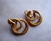 1970s Vintage Triple Hoop Goldtone Post Earrings - Vintage Earrings - Gold Plated Stud Earrings