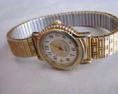 Stretch Wrist Watch - Adjustable Vintage Watch - Gold Plated Stretch Watch