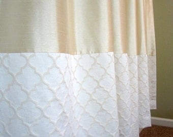 """Curtain Panels: 96"""" (one pair), Luxury Nursery Decor, Faux Dupioni fabric, Oatmeal & Cream Cotton Luxe bottom band, Custom Made to Order"""