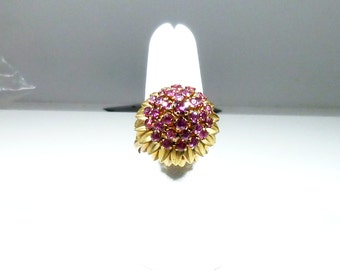 Ladies, Vintage, 14kt, Yellow, Gold, Ruby, Princess, Style, Ring.
