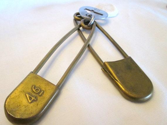 Vintage 2 Extra Large Brass Safety Pins Maker Signed Key Tag