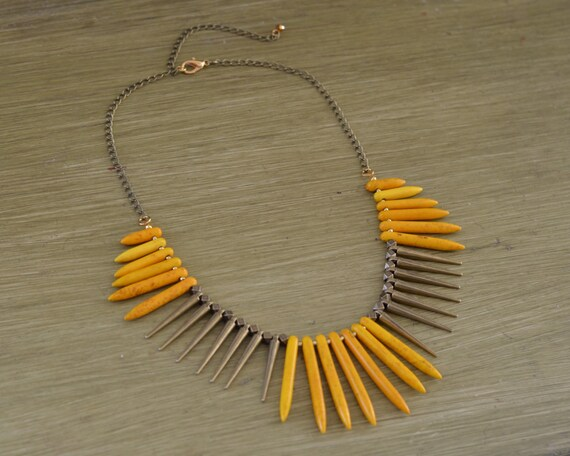Yellow Turquoise Spike Necklace - Yellow Bead Statement Necklace - Yellow Bib Necklace - Chunky Yellow Stone Necklace - Yellow Jewelry