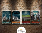 Harry Potter Fan Travel Posters Set of four Vintage Movie Poster Print Wall Art Christmas House Warming Gift Children Room decor Geekery