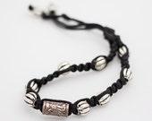 Hand Woven  Black and Silver Beaded Choker Macrame Hemp Style Necklace