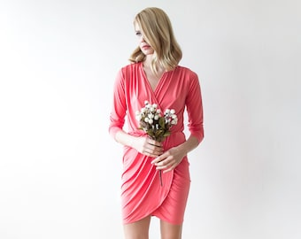 Coral mini wrap dress with long sleeves , Mini cocktail coral dress 1035