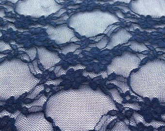 Giselle Stretch Floral Lace Navy 58 Inch Wide Fabric by the Yard, 1 yard