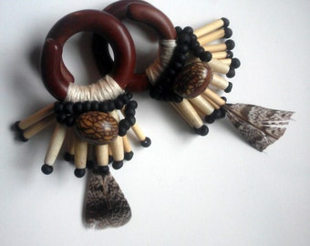 "7/16"" sawa wood ear weights, thread wrapped with feathers, bamboo, glass and hemp twine, ear weights, plugs for stretched ears"