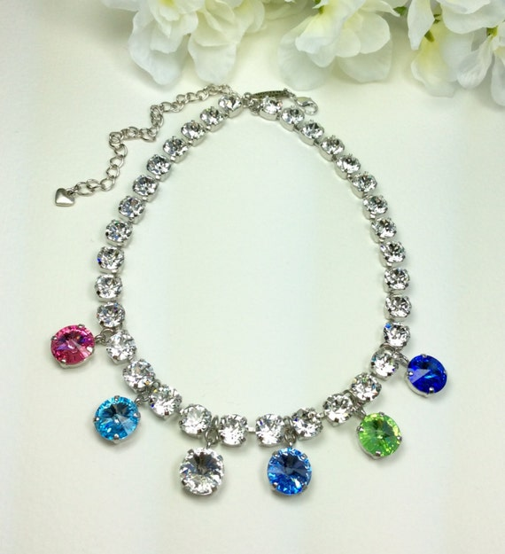 Swarovski Crystal 8.5mm & 12MM Birthstone Necklace - Wear Your Kids or Grandkids Birthstones- Great Gift!  Designer Inspired - FREE SHIPPING