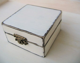 Jewlery box white shabby chic small vood box ring gift box keepsake box memory jewelry storage 3x1.8""