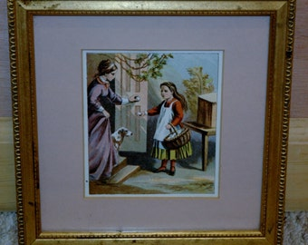 Antique Framed 19th Century Lithograph...Girl Selling Eggs To Woman With Dog