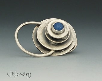 Silver Pin, Brooch, Badges, Eye Glass Holder, Sterling Silver, Blue Agate, Metalsmith, Handmade Pin