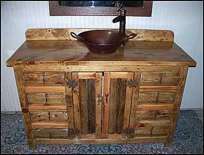 Rustic Log Bathroom Vanity Copper Vessel Sink And Bronze