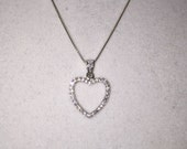 Reserved for Lisa    Sterling Silver CZ Open Heart Necklace