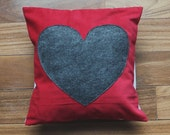 red corduroy pillow cover // heart pillow // 12X12 pillow // heart decor // heart accent pillow //corduroy throw pillow //red and grey decor