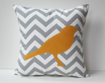 yellow bird pillow cover // 16 inch pillow // yellow and grey chevron pillow // yellow felt bird pillow // yellow cushion cover