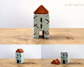 Miniature clay house, chalky blue, brown, spring home decor