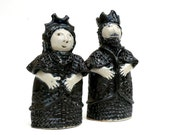 Ceramic Sculpture, Chess Pieces, The Black  King And Queen