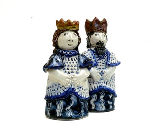 King And Queen, , Ceramic Sculpture , Chess Pieces ,  Royal Family , Ceramic Sculpture