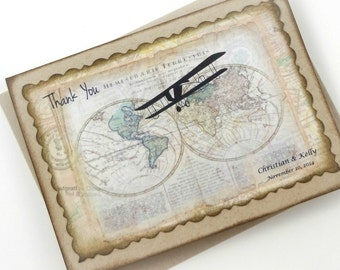 Personalized Thank You Cards, Travel Thank You Notes, Wedding Thank You Note Cards, Taupe Brown Recycled, World Map Notecards, Set of 20