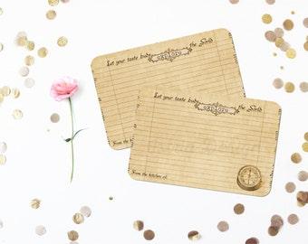 Compass Recipe Cards, Travel Bridal Shower Recipe Card Set, Rustic, Destination Wedding, Nautical 4x6 Handmade Recipe Cards, Set of 12