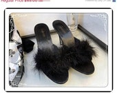 Feather Satin Houseshoes  - Vintage Black Feather & Satin Boudoir Slippers by Frederick's of Hollywood  SH-016a-072313000