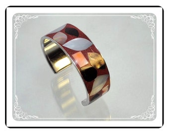 Wide Cuff Bracelet - Smashing Inlaid Mother of Pearl Vintage      Brac-1605a-121012000