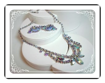 B David Demi Parure - Blue Green Aurora Borealis (AB) Rhinestone Necklace Earring Set  Demi-1375ag-040810000