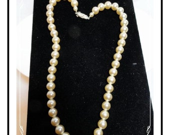 Vintage Pearl Necklace w Rhinestone Clasp  1524-012312000